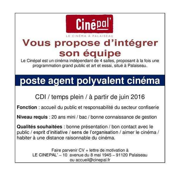 Le Cinepal Recrute